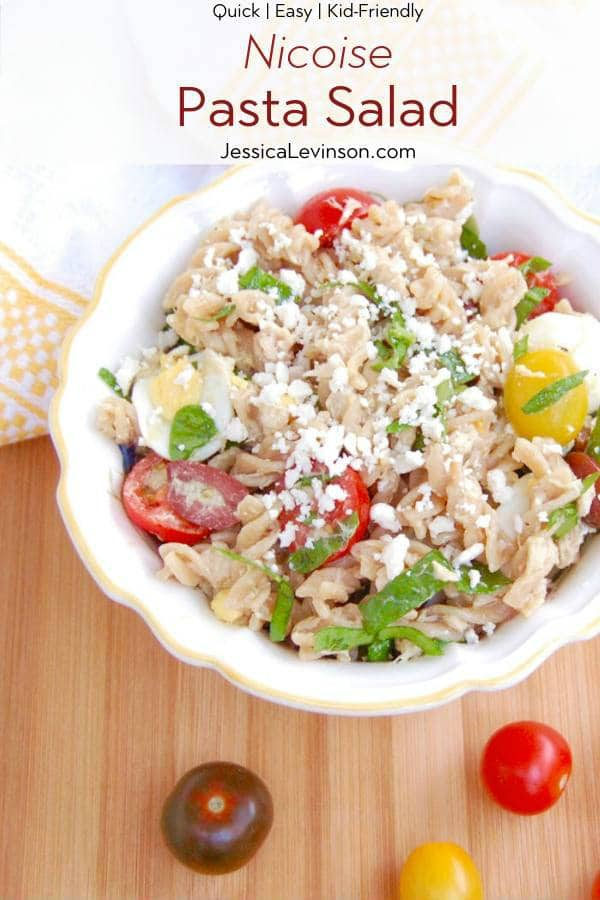 Nicoise Pasta Salad Recipe with Text Overlay