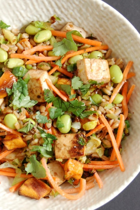 close up of Farro Buddha Bowl