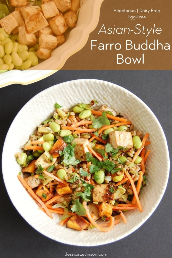 Whole grain farro is topped with shredded carrots, edamame, roasted Brussels sprouts sweet potatoes, and crispy baked tofu. Tossed with a miso lime dressing, this Asian-Style Farro Buddha Bowl is a vegetarian and vegan-friendly meal the whole family will love. Get the recipe at JessicaLevinson.com
