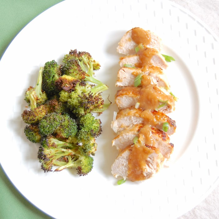 sliced miso glazed chicken with broccoli