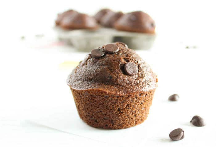 Close up of Whole Grain Double Chocolate Muffins