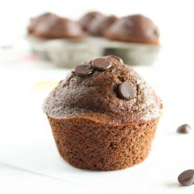 Delicious whole grain double chocolate muffins taste sinful but aren't! A great make-ahead breakfast treat or healthier dessert. Vegetarian and nut-free.