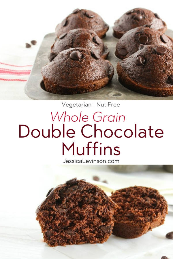 Whole Grain Double Chocolate Muffins with Text Overlay