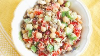 Lentil Chickpea Vegetable Salad with Feta