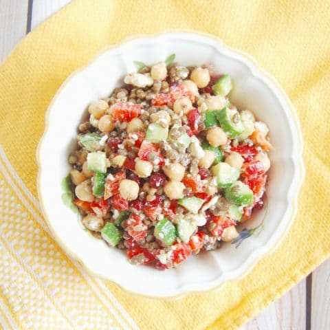 lentil chickpea salad is a healthy pantry recipes