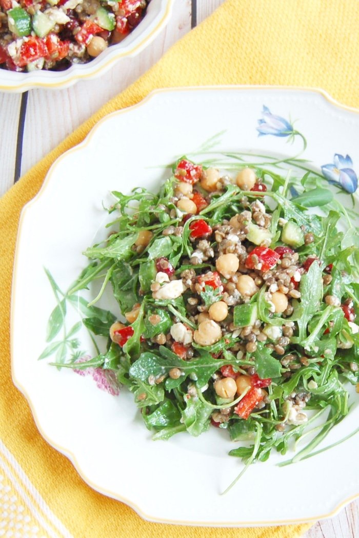 Lentil Chickpea Vegetable Salad on Plate