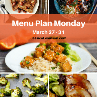 Nutritioulicious Menu Plan Monday week of March 27, 2017, including Broiled Grape French Toast @bpoulsonrd, Vietnamese Lemongrass Beef and Spaghetti Squash Noodle Bowls with Peanut Sauce @hbharvest, Crispy Baked Cara Cara Orange Tofu @kathrynpfeffer, Sesame Roasted Broccoli @foodiephysician, and Sticky Chicken @lmnblossoms.