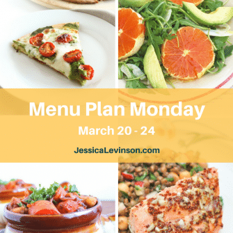 Nutritioulicious Menu Plan Monday week of March 20, 2017, including Vegan Mushroom Tempeh Bourguinon @sinfulnutrition, Rosemary-Roasted Tomato Pesto Pizza, Citrus Fennel Salad, and Orange-Maple Salmon @jlevinsonrd.