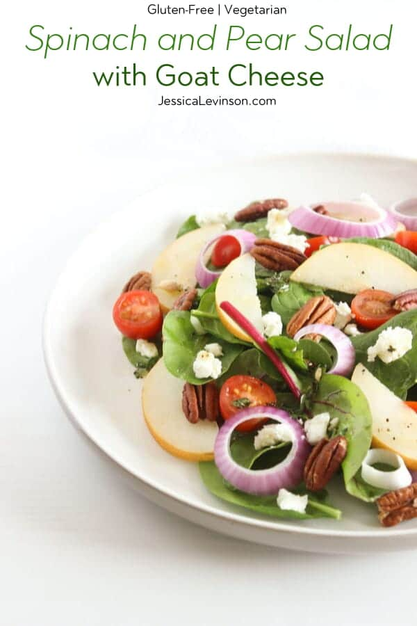 Spinach and Pear Salad with Goat Cheese with Text Overlay