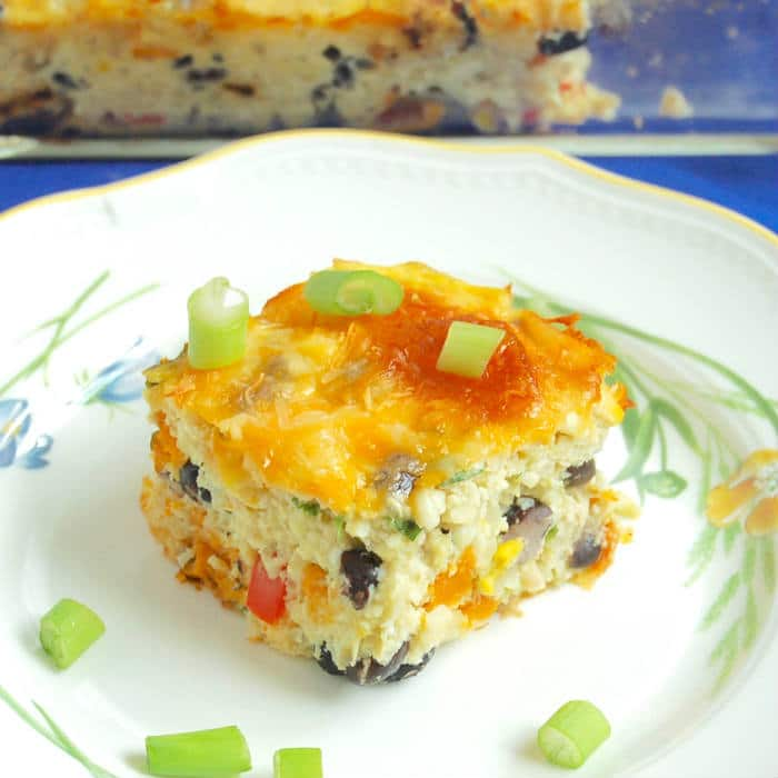 Southwestern Cauliflower Rice Casserole Recipe Closeup