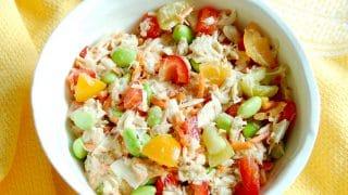 Quick & Easy Tuna Edamame Salad with Red Wine Vinaigrette