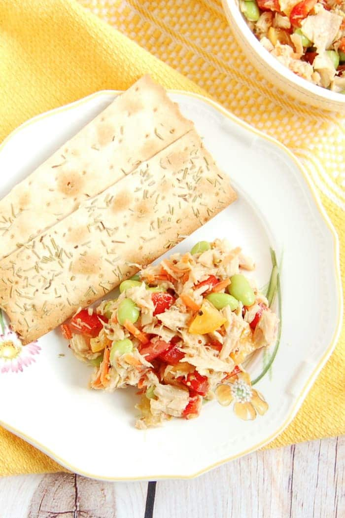 Easy Tuna Edamame Salad on Plate with Crackers