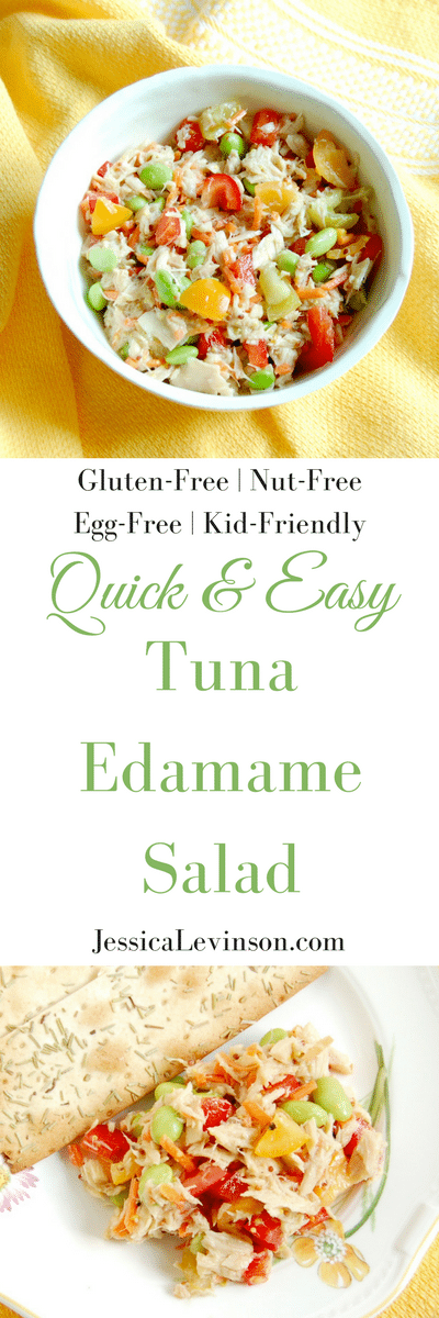 Quick and Easy Tuna Edamame Salad is a healthy, delicious, and balanced lunch the whole family can enjoy. Ready in less than ten minutes, it's perfect for the kids' lunchboxes or over a bed of greens for adults. Recipe via JessicaLevinson.com | #glutenfree #dairyfree #nutfree #eggfree #healthyrecipes #seafood2xWk #tunafish #lunchrecipes #lunchbox