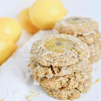 Lemon Poppy Seed Thumbprint Cookie Recipe stacked on platter