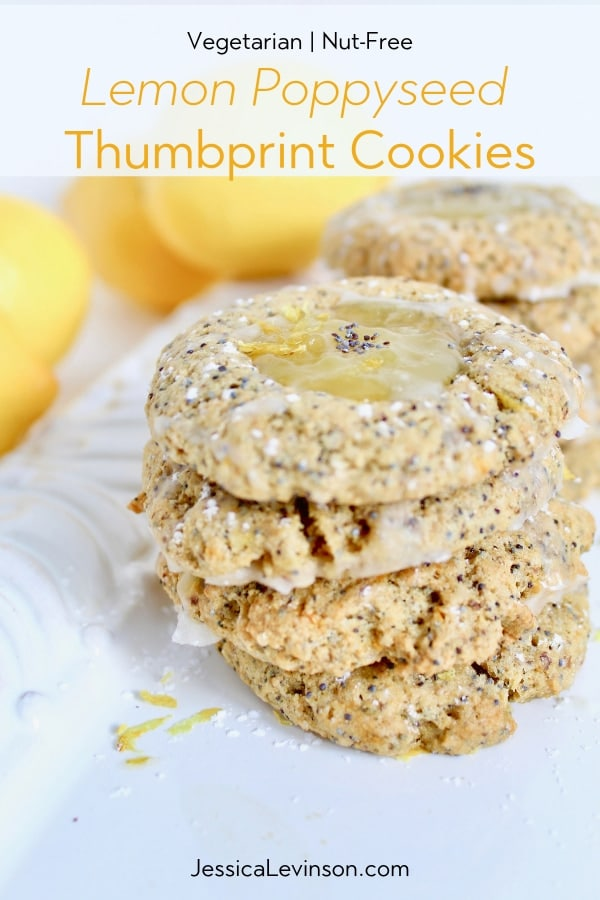 Lemon Thumbprint Cookie Recipe stacked on serving platter