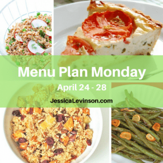 Nutritioulicious Menu Plan Monday week of April 24, 2017, Tomato Pie with Rosemary Parmesan Crust @trishagrrl, Spring Pea & Radish Farro Salad, Spiced Quinoa Salad, Garlicky Green Beans, Lentil Chickpea Vegetable Salad with Feta, and Roasted Chicken with Red Peppers, Artichokes, and Sun-Dried Tomatoes @jlevinsonrd.