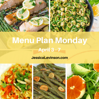 Nutritioulicious Menu Plan Monday week of April 3, 2017, including Sheet Pan Lemon Garlic Salmon @kristinekitchen, Avocado Pasta @wellplated, Shorty's Brown Rice, Garlicky Green Beans, and Citrus Fennel Salad @jlevinsonrd.