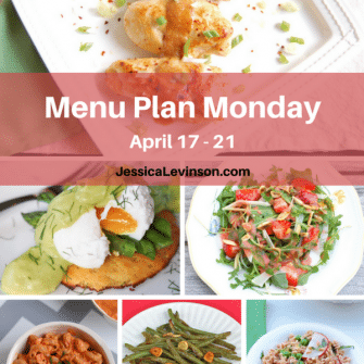 Nutritioulicious Menu Plan Monday week of April 17, 2017, including Asparagus Egg Benedict @rwallace4, Miso-Glazed Chicken, Strawberry Arugula Salad, Creamy Roasted Red Pepper and Tomato Pasta, Garlicky Green Beans, and Spring Pea Farro Salad @jlevinsonrd.