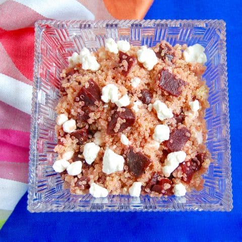 Beet and Goat Cheese Quinoa Salad - a quick, easy, and healthy school lunch idea