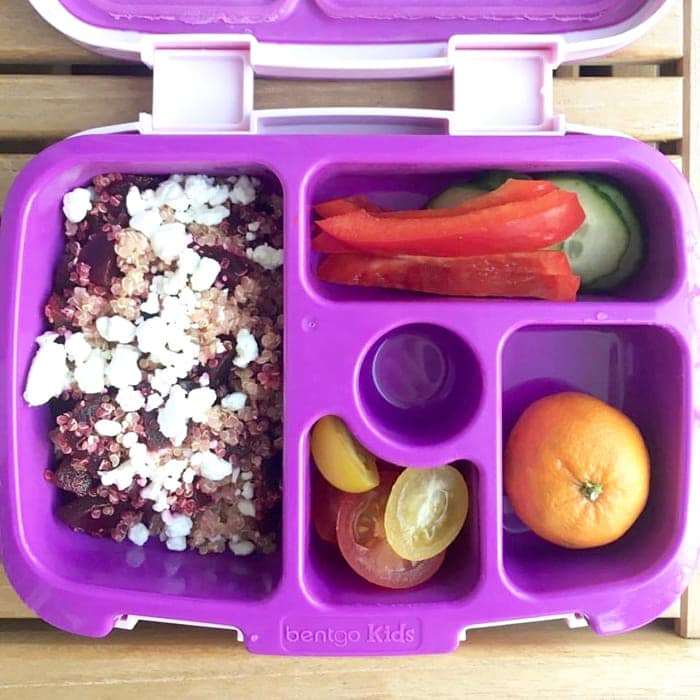 Beet and Goat Cheese Quinoa Salad in Lunchbox