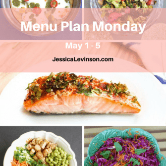 Nutritioulicious Menu Plan Monday week of May 1, 2017, including Garlic Cilantro Salmon @LivelyTable, Farinata, Roasted Broccoli Radish Salad, Asian-Style Buddha Bowl, and Red Cabbage Carrot Slaw @jlevinsonrd.