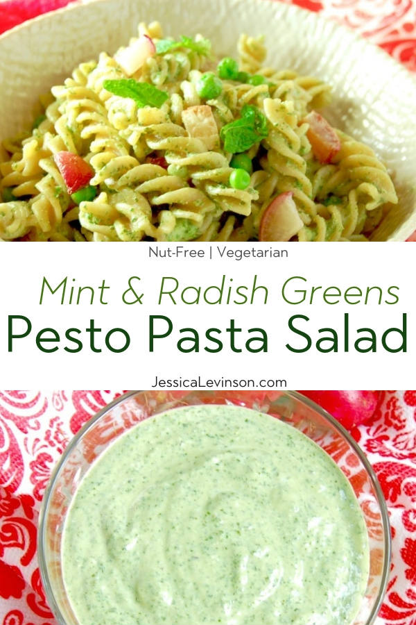 Radish Greens Pesto Pasta Salad with Text Overlay