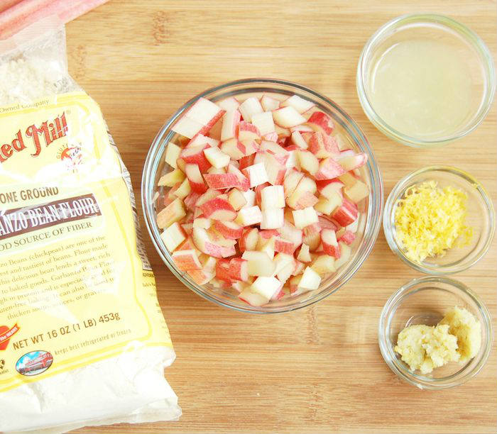 Ingredients for Rhubarb Ginger Lemon Muffins