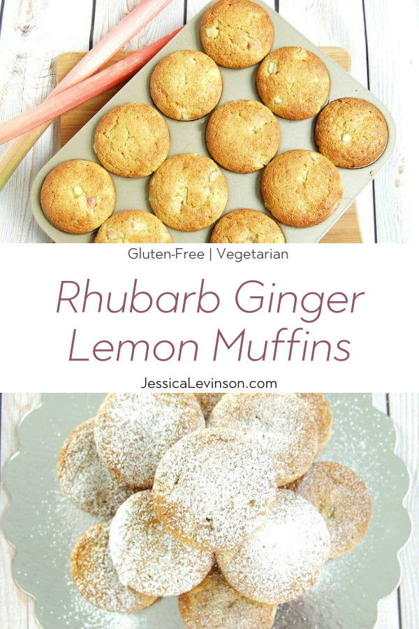 Rhubarb Ginger Lemon Muffins with Text Overlay