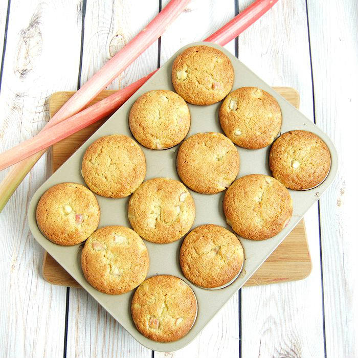 Rhubarb Ginger Lemon Muffins in Pan