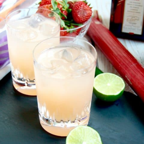 Spicy Strawberry Rhubarb Margaritas spring cocktail