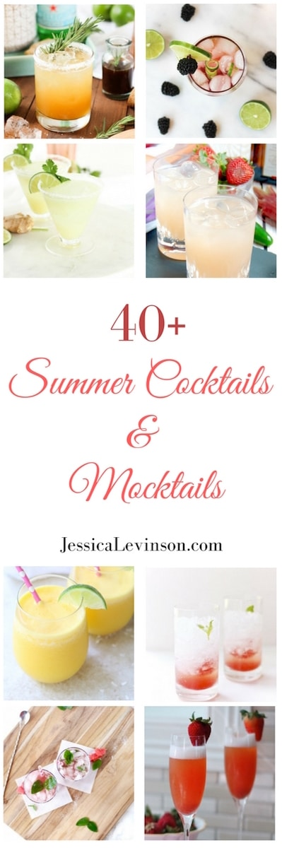 Sit back, relax, and enjoy the hot days and nights of summer with one (or more!) of these refreshing cocktail and mocktail recipes! Get the roundup at JessicaLevinson.com | #cocktail #cocktailrecipe #mocktails #summer #beverages #alcohol #drinks