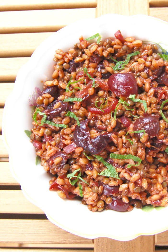 Roasted Cherry Farro Salad Closeup