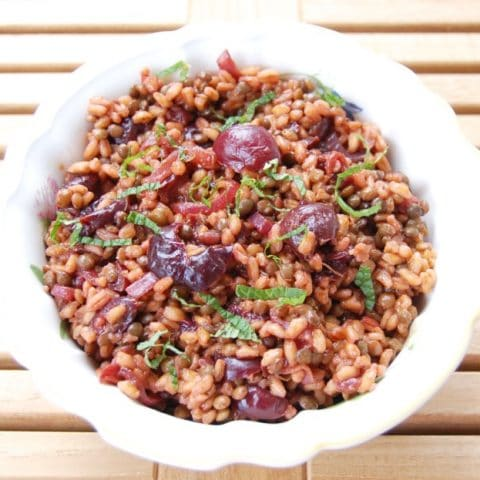 Roasted Cherry Farro Salad