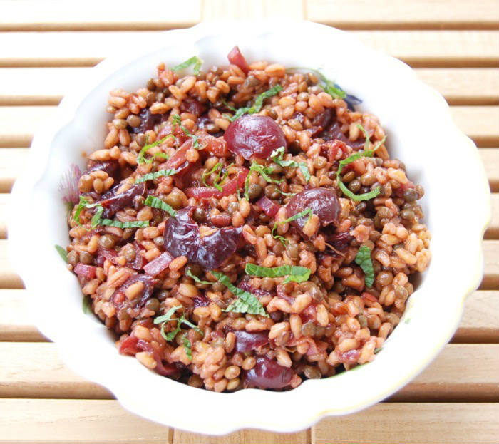 Roasted Cherry Farro Salad in Bowl