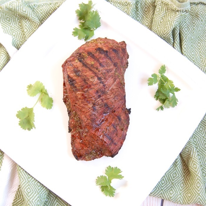 Grilled Cilantro Lime Steak on White Plate