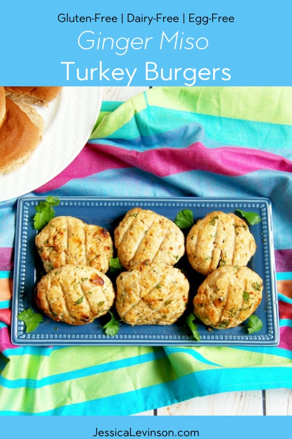 Ginger Miso Turkey Burgers on serving platter