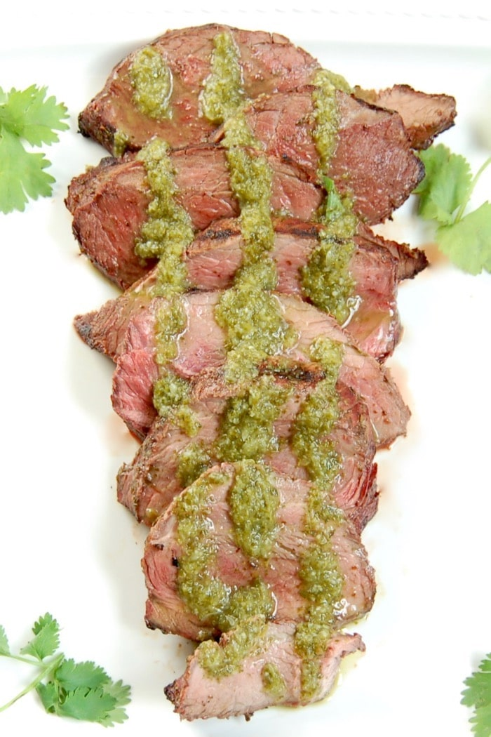 Grilled Cilantro Lime Steak Sliced Close Up