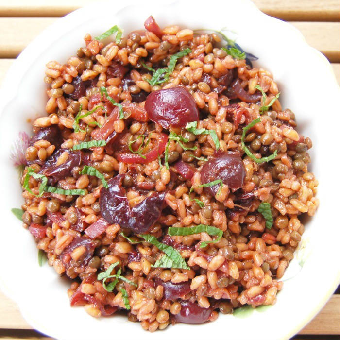 Roasted Cherry Farro Salad Overhead