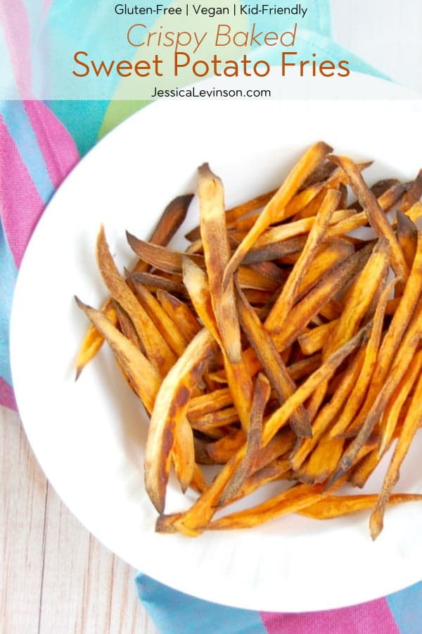 Crispy Baked Sweet Potato Fries with Text Overlay