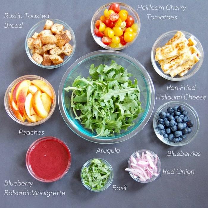 peach panzanella salad ingredients