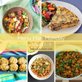 Menu Plan Monday week of August 7, 2017 including Peach Panzanella Salad, Baked Mushroom Leek Frittata, Miso Ginger Turkey Burgers, Asian-Style Farro Buddha Bowl, and Sweet Potato Salad. Recipes @jlevinsonrd.