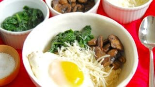 Savory Oatmeal Bowl with Spinach, Mushrooms, and Fried Egg