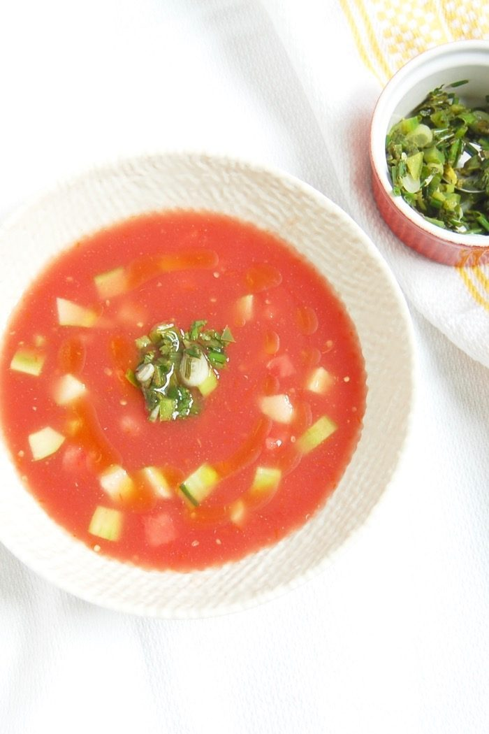 Watermelon Tomato Gazpacho in White Bowl