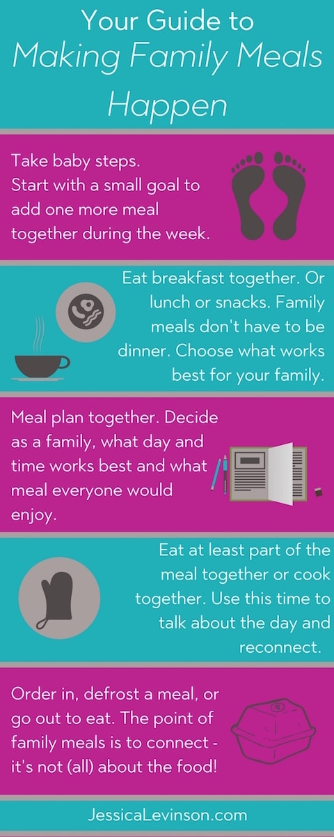 Make family meals happen more often with these 5 tips at JessicaLevinson.com | #FamilyMealsMonth #familymeals #feedingthefamily #family