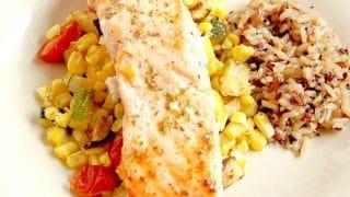 Mediterranean Sheet Pan Salmon with Zucchini, Corn, and Tomatoes
