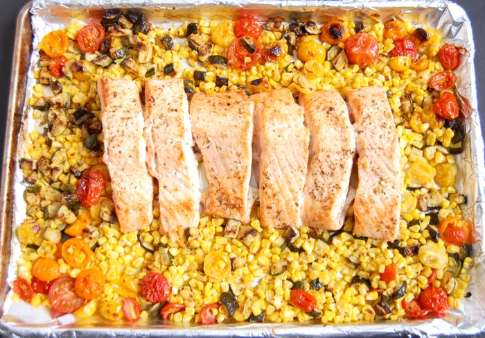Mediterranean Sheet Pan Salmon is an easy healthy weeknight dinner for busy families