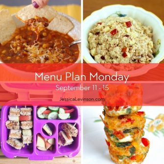 Menu Plan Monday week of September 11, 2017 including Three Bean Vegetarian Chili, Apple Cranberry Tuna Salad, Soynut butter sandwich skewers, and Veggie & Bean Quinoa Bites. Get the menu @jlevinsonrd.