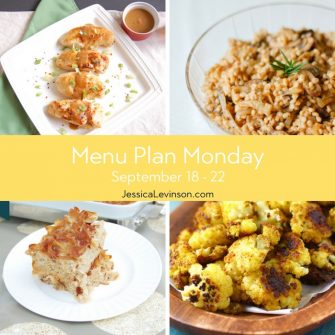 Menu Plan Monday week of September 18, 2017 including Miso Glazed Chicken, Mushroom Onion Barley, Cinnamon Apple Noodle Kugel, and Roasted Garlic Curry Cauliflower @jlevinsonrd.