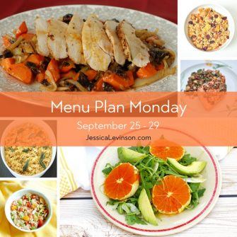 Menu Plan Monday week of September 25, 2017 including Roasted Chicken with Fennel, Carrots, & Dried Plums, Spiced Quinoa with Roasted Apples and Root Vegetables, Lightened-Up Macaroni and Cheese, Citrus Fennel Salad, and Tuna Edamame Salad @jlevinsonrd.
