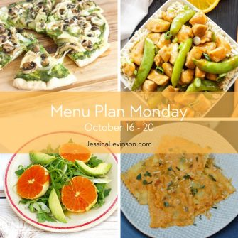 Menu Plan Monday week of October 16, 2017 including Mushroom Pesto Pizza, Healthier Orange Chicken, Citrus Fennel Salad, and Ravioli with Pumpkin Yogurt Sauce